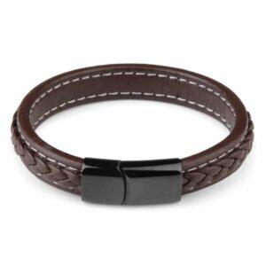 Premium brown - mágneses fonott bőr karkötő