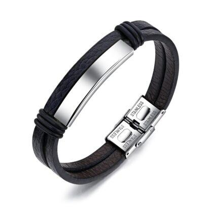 Rozsdamentes gravírozható bőr karkötő - fekete