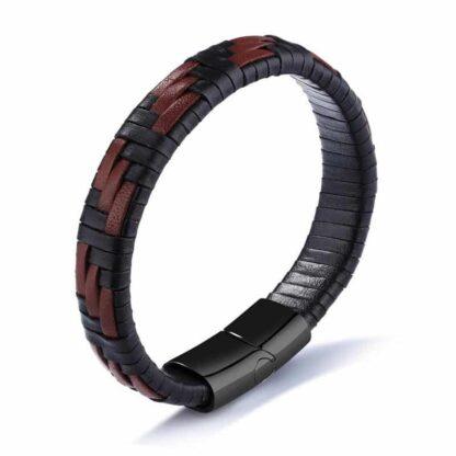 Premium braided brown - mágneses bőr karkötő