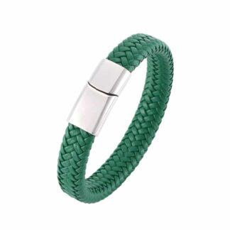 Premium green - mágneses bőr karkötő