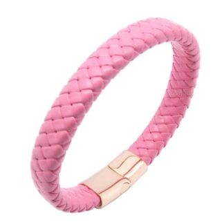 Rózsaszín bőr elegáns női karkötő - Prémium pink