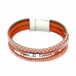 Strasszköves 6 részes bőr karkötö - narancssárga