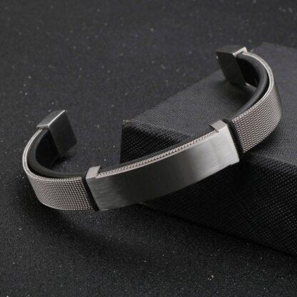 Kalen gravírozható bőr karkötő acél hálóval2