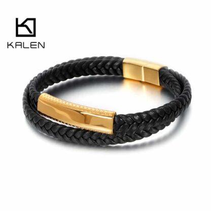 Kalen gravírozható két részes bőr karkötő - arany