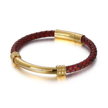 Kalen strasszkővel kirakott bőr karkötő - arany
