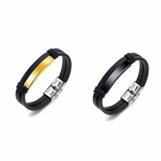 Rozsdamentes gravírozható bőr páros karkötő – arany - fekete - vásárolj te is csodaszép ékszereinkből és lepd meg szerelmedet!