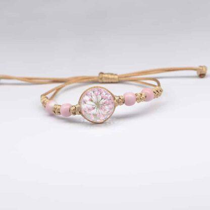 Pitypang virágos karkötő üveggömbben - rózsaszín