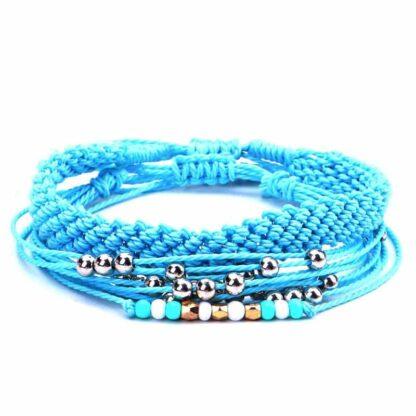 3 részes barátság karkötő gyöngyökkel - kék