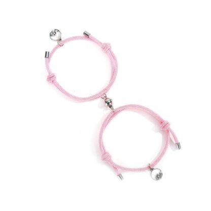 Fonott kötél páros mágneses karkötő hegy és hullám medállal - rózsaszín