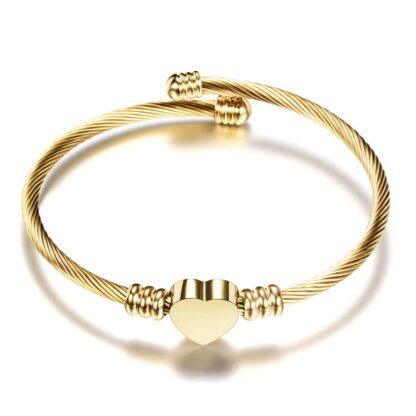 Nemesacél női karkötő sodrony karperec szív medállal - gold