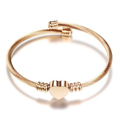 Nemesacél női karperec sodrony karkötő szív medállal - rose gold