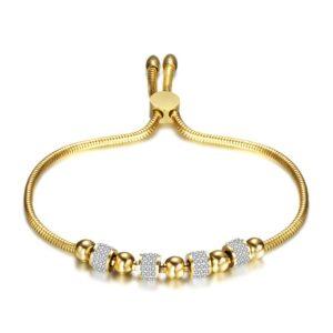 Nemesacél női karkötő strasszkő berakással - gold