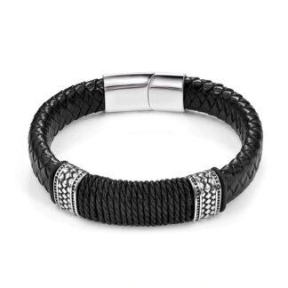 Férfi karkötő bőr és kötélből - Charon