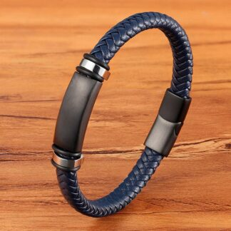 Gravírozható bőr karkötő - Slim - kék