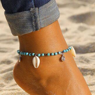 Kék textil kagylós bokalánc - Shell