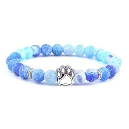 Achát kutya mancs karkötő - kék