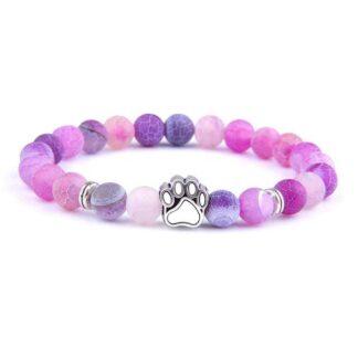 Achát kutya mancs karkötő - rózsaszín