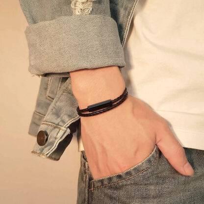 Fonott bőr gravírozható karkötő - fekete és ezüst színben - Slimfull2