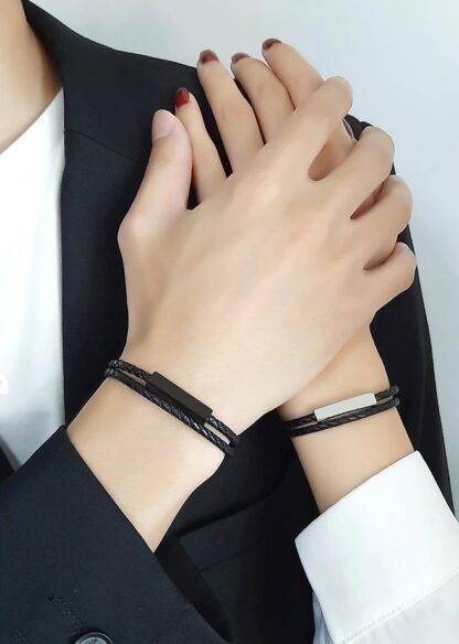 Fonott bőr gravírozható karkötő - fekete és ezüst színben - Slimfull3