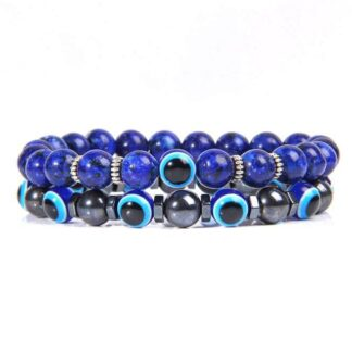 Lápisz lazuli - kék tigrisszem páros karkötő