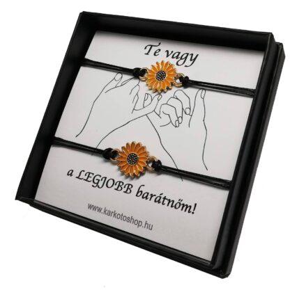 Legjobb barátnő karkötő sárga virág medállal_kk19