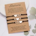 3-as barátság karkötő szív tripla szív medálokkal