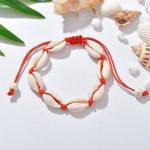 Kagylós karkötő csúszkával - piros