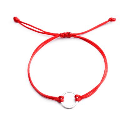 Nagy karika textil karkötő - piros