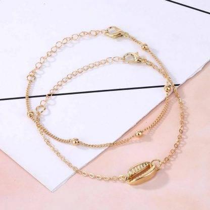 Kagyló medálos nemesacél női karkötő - arany3